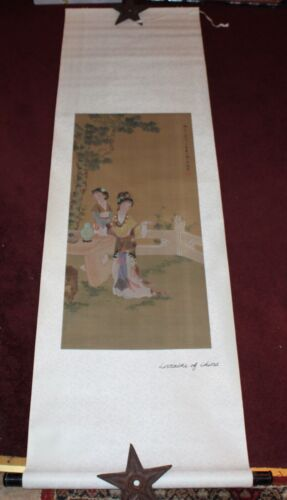 Vintage Chinese Scroll Lorraine Of China #4 Women Trees Colorful Signed Painted