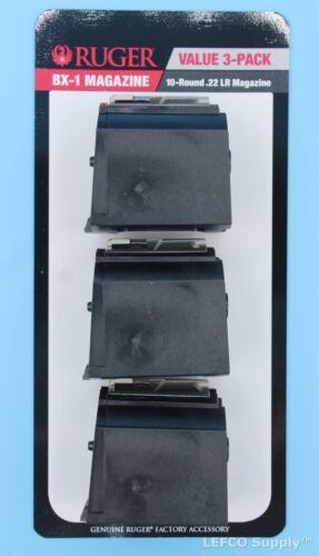 Ruger 10/22 Magazine Value 3 Pack 10-Round 22-LR Genuine BX-1 OEM Clip 90451 NEW