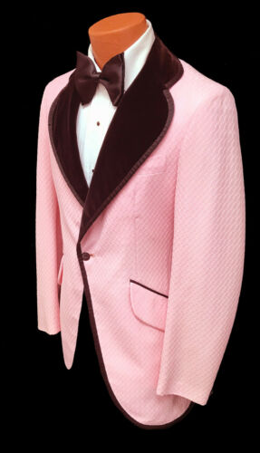 Boys 14 Vintage Pink Tuxedo Jacket with Velvet Lapels 1970s Disco Retro Prom