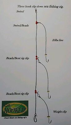 4 X Three hook clip down sea fishing rig' made with No4 Aberdeen hook's