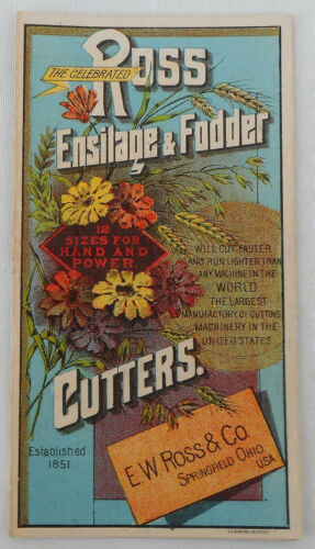 The Celebrated Ross Ensilage & Fodder Cutters Circa 1850