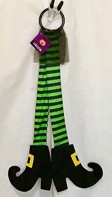 Halloween Mesh Decorations (New Halloween Witch Legs Deco Mesh Green Black Leg Door Decor)