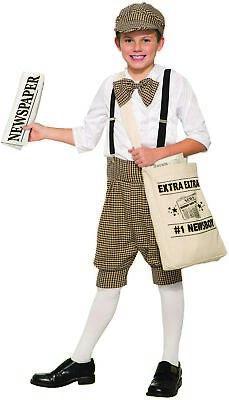 Kids Mailman Costume (Gatsby 1920's Newsboy Newsie Boys Child Costume Newspaper Carrier Size)