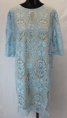 Boohoo Women's Plus All Over Lace Shift Dress JH7 Blue Size US:18 NWT