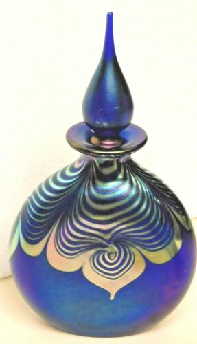 "Correia spectacular signed perfume bottle 8"", pulled feather design"