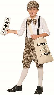 Kids Mailman Costume (1920s Newsboy Newsie Boys Child Costume Newspaper Mail Man Carrier Size)