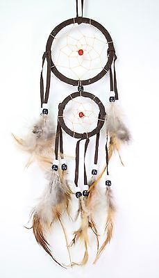 Brown Handmade Dream Catcher With Feathers Wall Hanging Decoration Ornament Gift