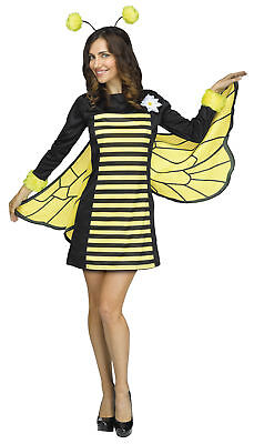 Bee My Honey Bumblebee Adult Costume Yellow And Black Striped Dress Halloween