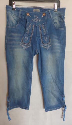 Rottaler Damen Trachten Jeans Caprihose 3/4-Hose blau Gr. 38 40 42 44