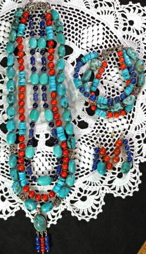 Turquoise Coral & Lapis Necklace Bracelet & Earrings Sterling Silver Settings