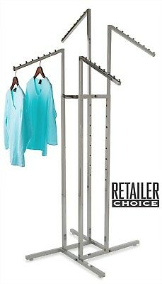 4-way Square Tubing Slant Arm Garment Rack - Chrome