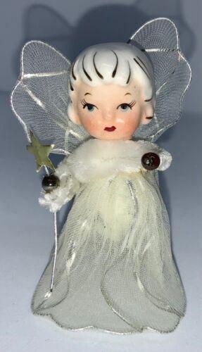 VINTAGE MINIATURE ANGEL FIGURINE - BISQUE HEAD & TULLE DRESS