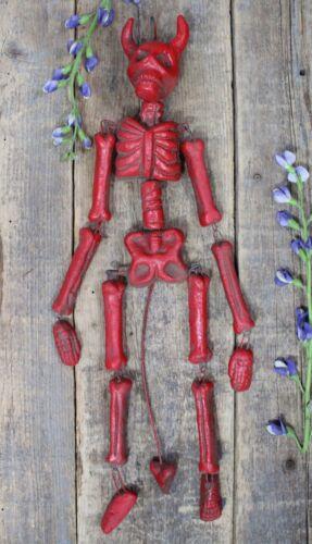 Lg Red Devil Articulated Skeleton Skull Bones by Rafael Pineda Mexican Folk Art