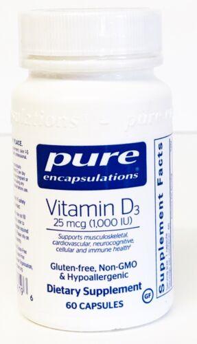 Pure Encapsulations Vitamin D3 25 mcg (1,000 IU) Exp 04/2023 60 Capsules