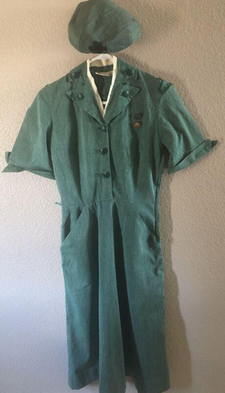 Vintage Girl Scout LEADER UNIFORM DRESS 1953-PILLBOX HAT-RARE TREFOIL PIN 1942