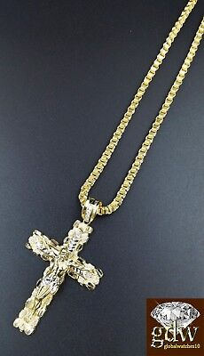 Real 10k Yellow Gold Jesus Cross Charm/Pendant with 28 Inch