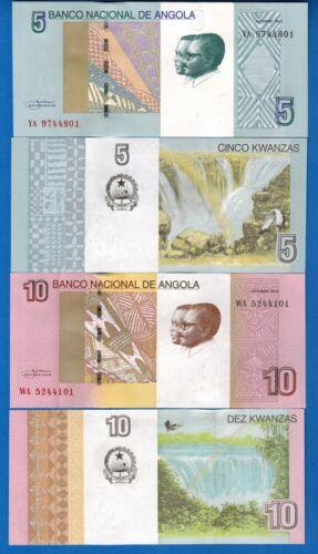 Angola P-151A & P-151B 5 & 10 Kwanzas Year 2012 Waterfalls Uncirculated Set # 1