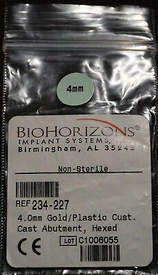 Biohorizons 4.0mm Goldplastic Custom Cast Abutment Hexed