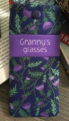 Personalised glasses case Scottish Thistle fabric Handmade snap pouch Gift (Personalised Glasses Case)
