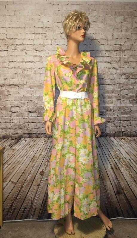 Vtg 70s Homemade Jumpsuit Floral Disco Wide Leg
