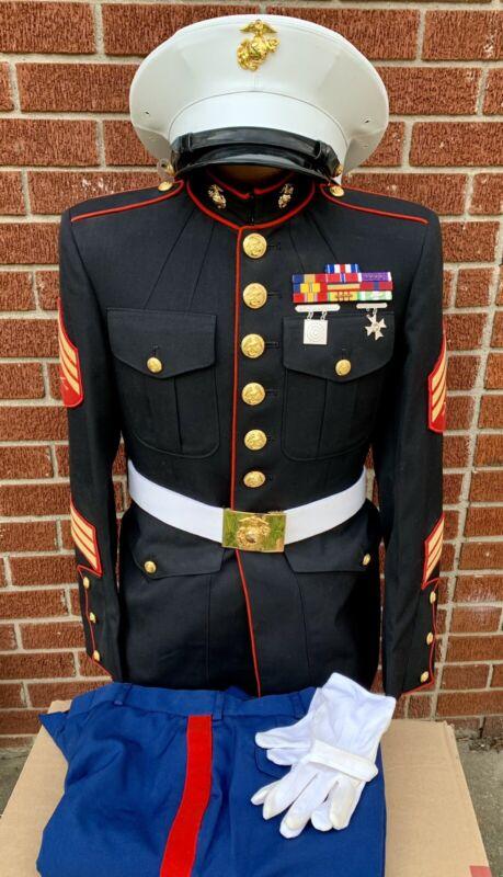 USMC Marine Corps Officer Dress Blue Uniform & Hat Sergeant Pins Ribbons EGAs