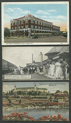Hershey PA: Three c.1910-1940s Postcards DEPARTMENT STORE, TRAIN STATION, (Hershey Pa Stores)