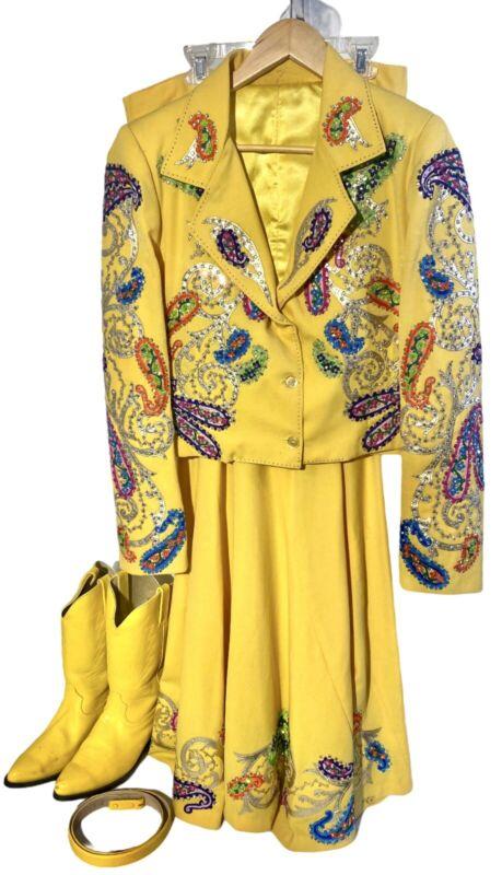 Rickrageous Stunning Yellow Jacket, Skirt, Boots & Belt Rodeo Queen Outfit Sz 11