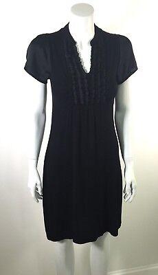 Anthropologie PINK ROSE sz M Black Ruffle Front Stretch Jersey Dress Satin - Rose Ruffle Dress