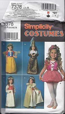 Simplicity 7378 Costumes Pattern UNCUT A3-8 Little Princess Fairy Magician (A Little Princess Costume)