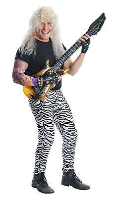 Mens Zebra Animal Print Trousers Rock Star Fancy Dress 80s Costume 70s - Rock Star Fancy Dress Kostüm