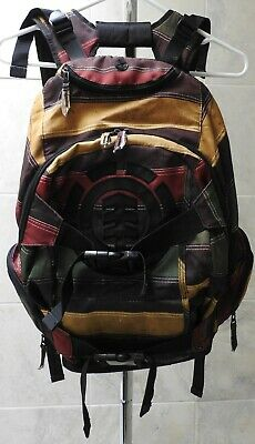 "ELEMENT Large 19"" Skateboard Backpack Striped Multi Pockets"