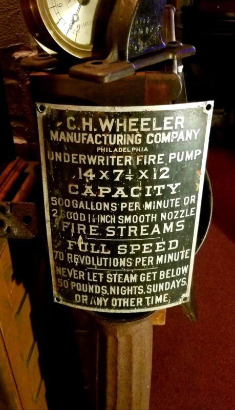 Antique C H Wheeler Philadelphia Pa Steam Boiler Fire Fighting Pump Badge