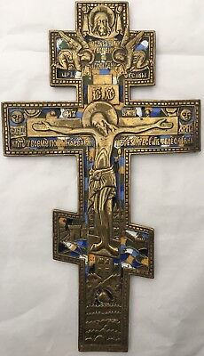 Original altes russisches Segenkreuz, 19 Jh., Bronze, Email, 25,2 x 14.3 cm