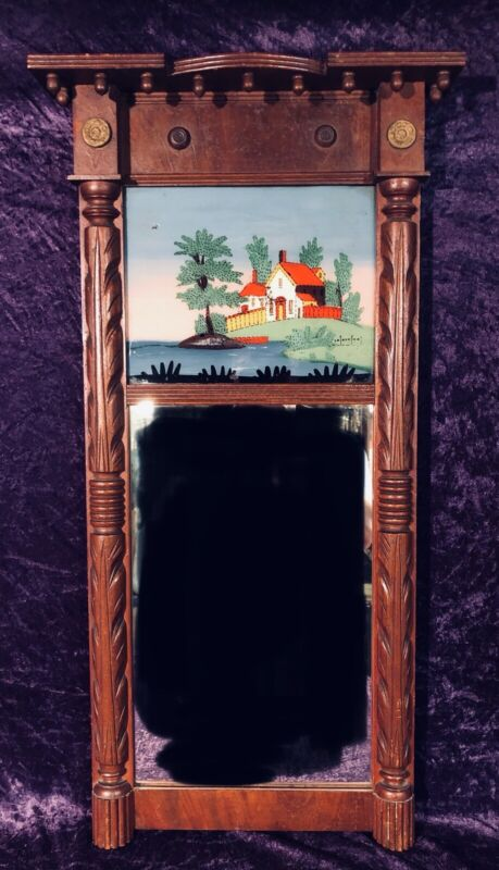 Antique American Federal Mahogany Reverse Painted Wall Mirror 19th Century
