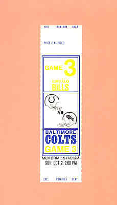 Buffalo Bills at Baltimore Colts 1977 NFL ticket stub tickets 10-2-77