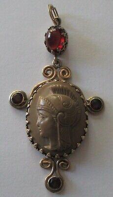Victorian Soldier Costume (ANTIQUE VICTORIAN LAVA CAMEO PENDANT ROMAN SOLDIER GOLD FILLED GARNET)