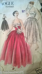 Vintage 50's VOGUE Sewing Pattern EVENING*WEDDING*PROM*BALL GOWN/ DRESS