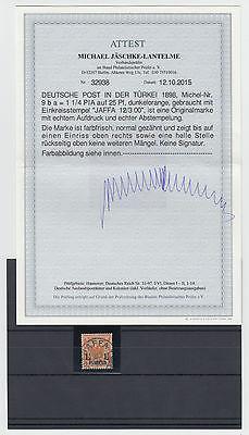 Dt. Post Türkei Nr. 9 ba gestempelt,geprüft mit Attest 950,- Michel