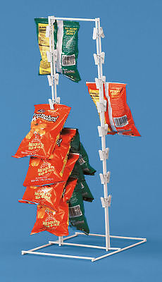 Countertop Rack ( Spring Clip Strip Rack Countertop Chips Candy Snacks White Metal Framed)