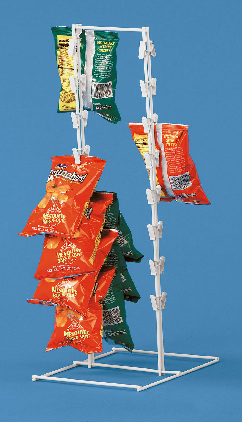 Spring Clip Strip Rack Countertop Chips Candy Snacks White M