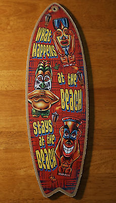 Tiki Idols Bar Surfboard Sign WHAT HAPPENS AT THE BEACH STAYS Tropical - Tiki Idols