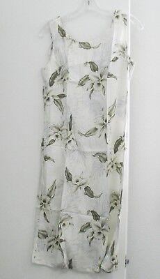 Milson by KY's Womens Hawaiian Cream Orchid Rayon Tank Dress Sz M - NWOT