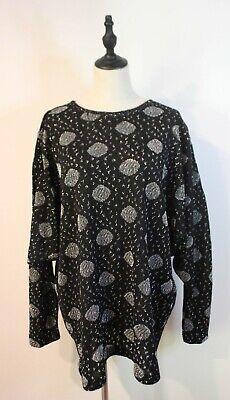 80s Sweatshirts, Sweaters, Vests | Women VINTAGE 80'S MAGGIE T ~ Black Silver Metallic Woven Dots New Wave Jumper 18 plus $48.22 AT vintagedancer.com