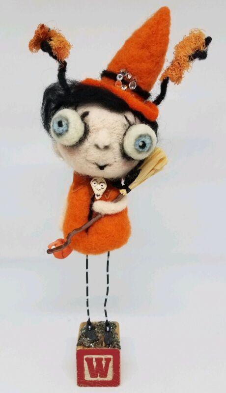 Handmade Needle Felted Wool Halloween Witch Girl Woman Decor Doll Figure