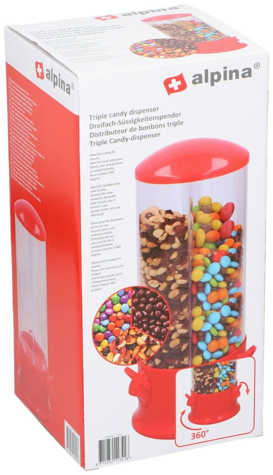 Alpina Triple Candy Machine Distributeur 3 compartiments Snacks tournante de conservation