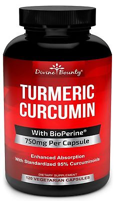 Turmeric Curcumin with BioPerine Black Pepper Extract - 750m