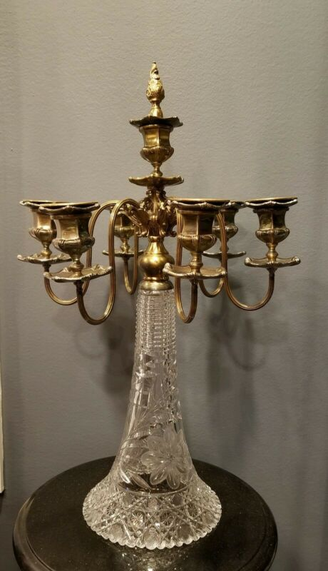 """Antique Cut Crystal and Gilt Bronze 7 Lights Heavy Candelabra 25"""" Exquisite"""