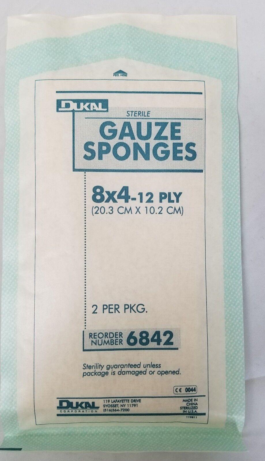 """Dukal 12 Ply Sterile Gauze Sponges 8""""x4"""" 2 Per Pack,"""