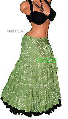 Jaipur Green - Green Jaipur Wrap Skirt Gypsy Tribal Fusion Belly Dancel ATS