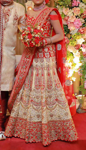 Lehenga-wedding, gold&red, embroidery, beads, bollywood, bridal